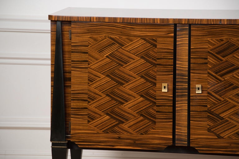 Classic French Art Deco Macassar Ebony Sideboard or Buffet For Sale 1