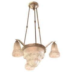 Classic French Degue Art Deco Chandelier with Tulip Glass