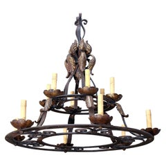 Classic French Iron and Gold on Iron Two-Tier Chandelier