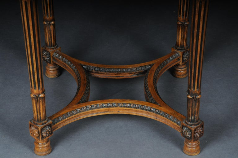 Hand-Carved Classic French Side Table in Louis XVI, Beechwood For Sale