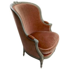 Classic French Style Bergere Lounge Chair in Mohair Upholstery