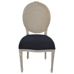 Classic French Style Painted Dining Chair with Caned Oval Back for Custom Order