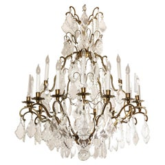Classic French Versailles style Austrian Crystal Chandelier in Antique Brass