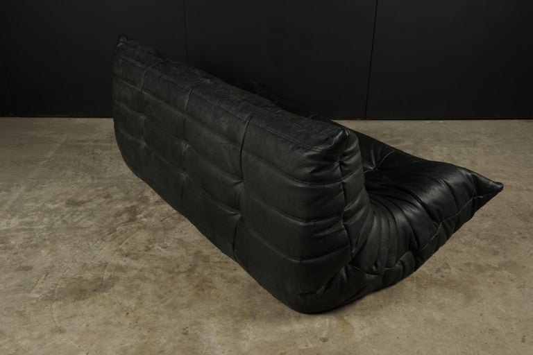 European Classic French Vintage Leather Togo Sofa by Michel Ducaroy for Ligne Roset For Sale