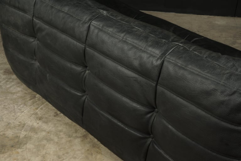 Classic French Vintage Leather Togo Sofa by Michel Ducaroy for Ligne Roset For Sale 1