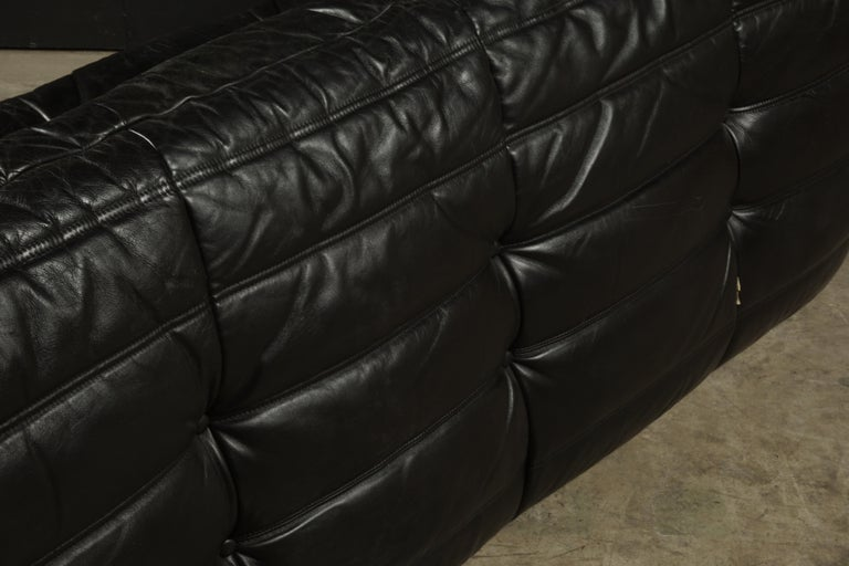 Classic French Vintage Leather Togo Sofa by Michel Ducaroy for Ligne Roset For Sale 3