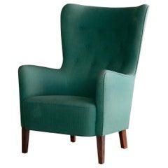 Classic Frits Henningsen Style Highback Easy Chair Danish Midcentury