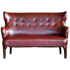 Classic Fritz Hansen 1930s Settee or Bench in Patinated Cordovan Leather Denmark