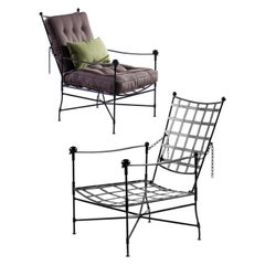 Classic Garden Chair-Classic Steel Frame Chair with Buttoned Cushions