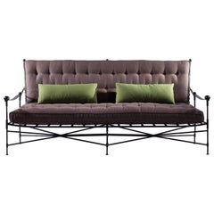 Classic Garden Sofa-Classic Steel Frame Sofa with Buttoned Cushions