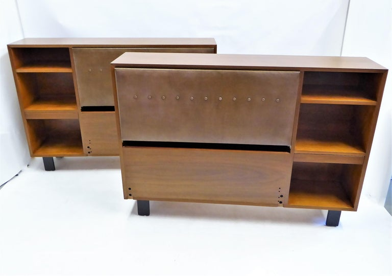 Mid-20th Century Classic George Nelson Walnut King Headboard Cabinet For Sale