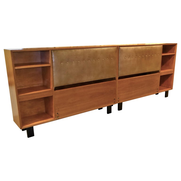 Classic George Nelson Walnut King Headboard Cabinet For Sale
