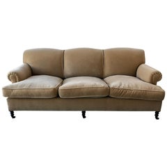 Classic George Smith English Sofa in Mohair Velvet