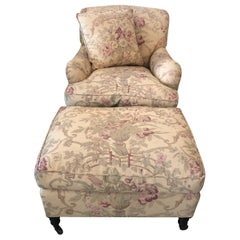 Classic George Smith Large Club Chair and Ottoman in Gollut Pattern Upholstery