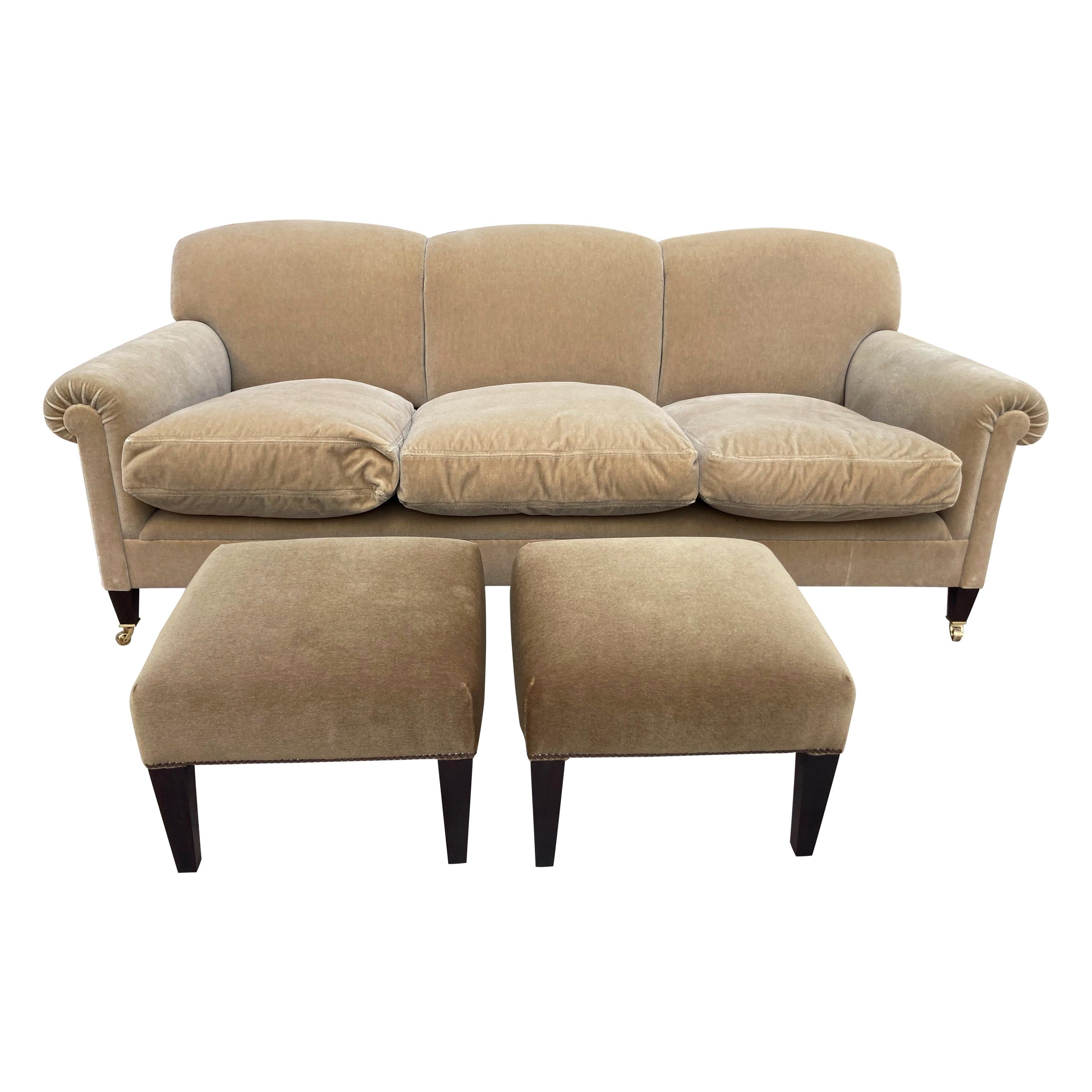 Classic George Smith Signature Scroll Arm Mohair Sofa and Matching Ottomans