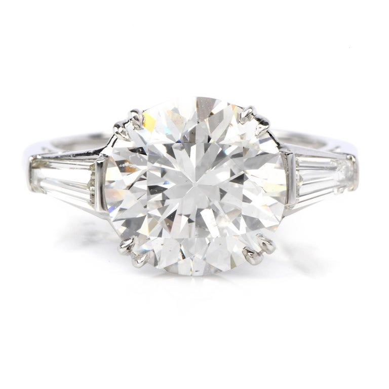 Round Cut Classic GIA 4.87cts F color SI1 Clarity Round & Baguette Diamond Platinum Engage For Sale