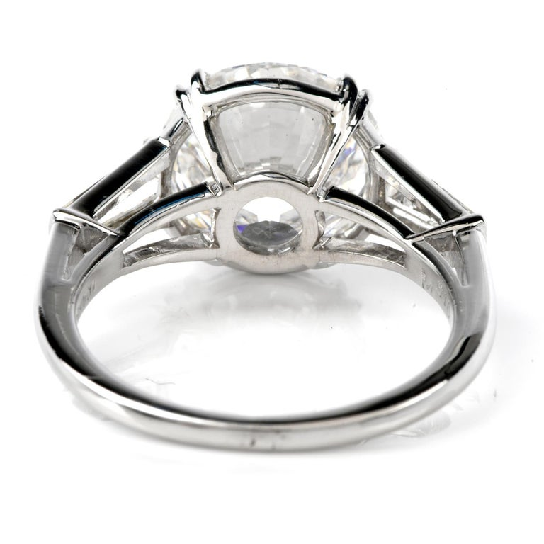 Classic GIA 4.87cts F color SI1 Clarity Round & Baguette Diamond Platinum Engage For Sale 1