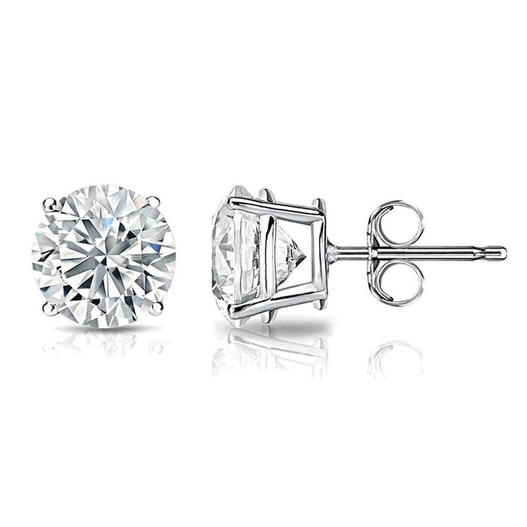 Round Cut Classic GIA Certified 4.00 Carat Diamond Stud Earrings For Sale