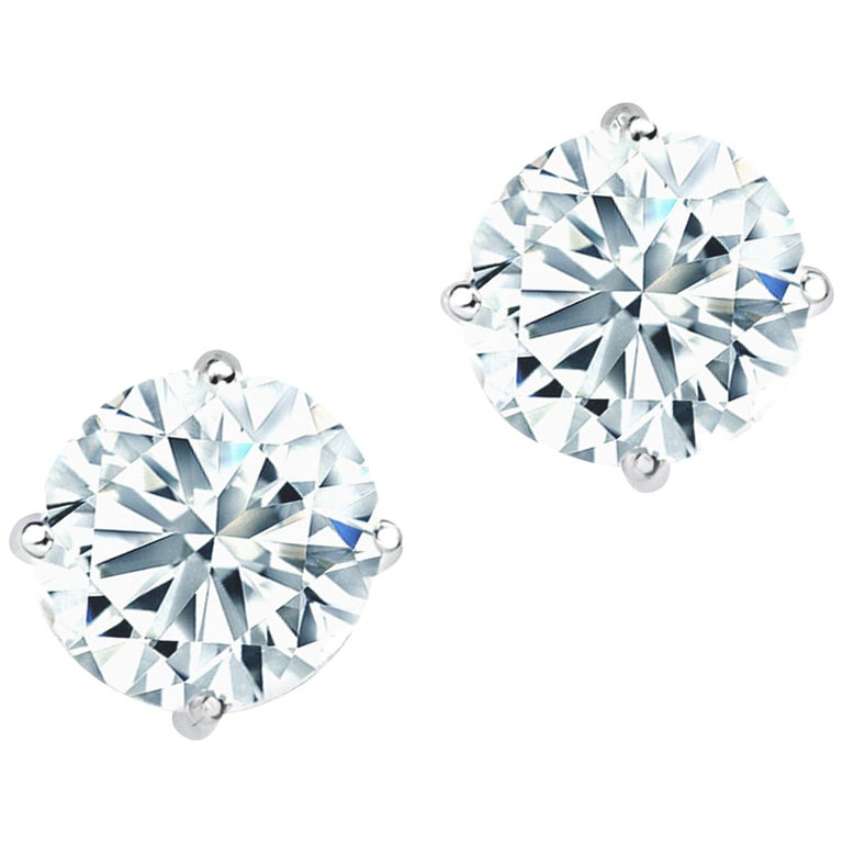 Classic GIA Certified 4.00 Carat Diamond Stud Earrings For Sale