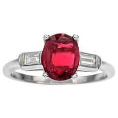 Classic GIA Ruby Diamond Platinum Engagement Ring