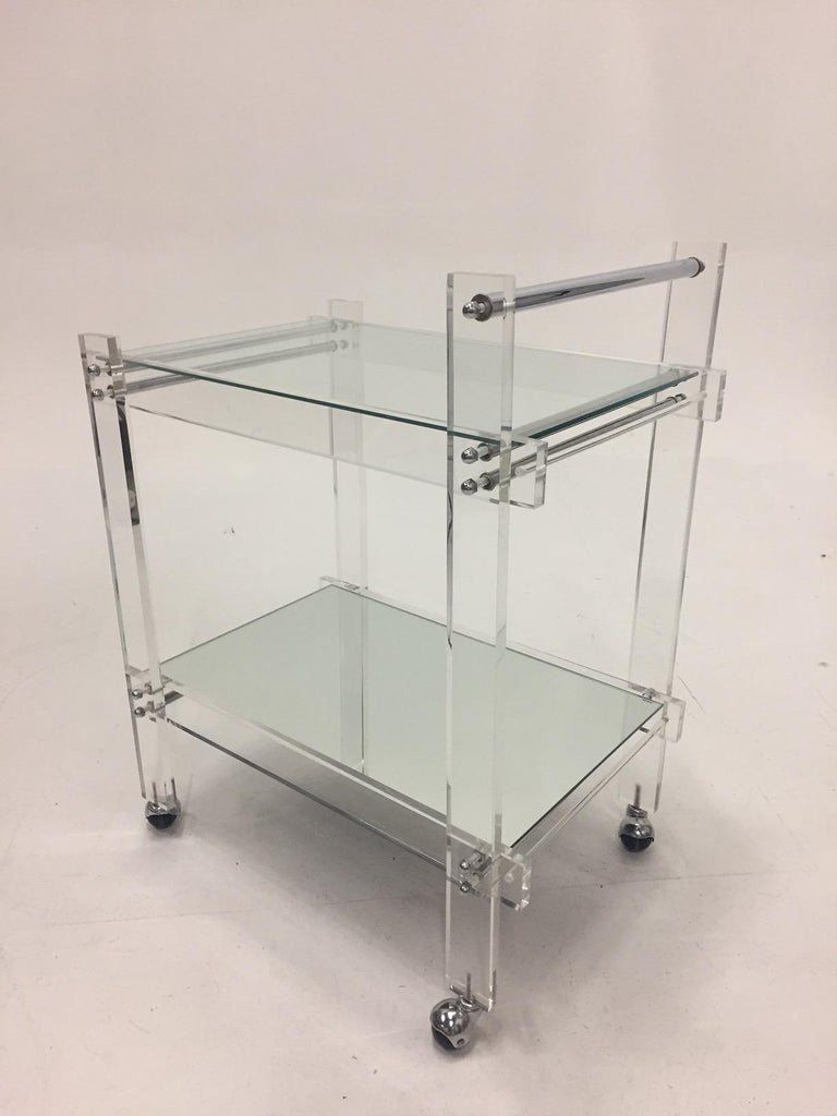 North American Classic Glam Mid-Century Modern Lucite Bar Cart For Sale