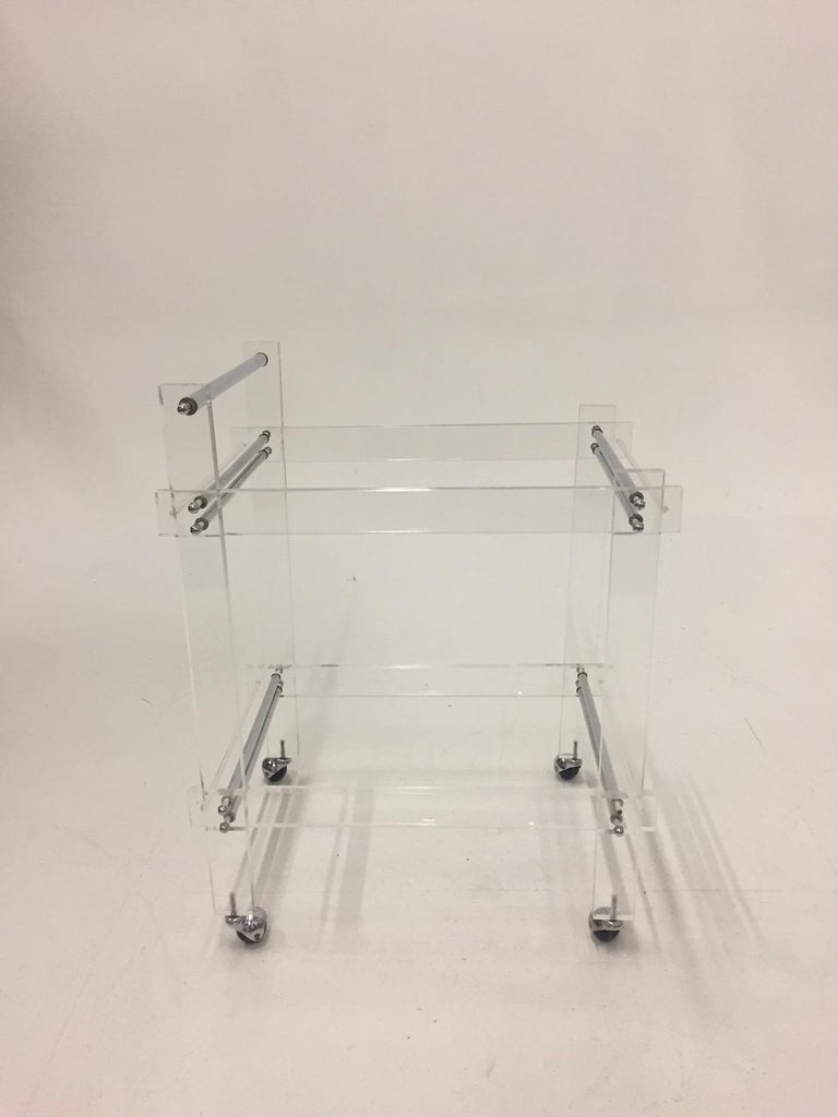 Chrome Classic Glam Mid-Century Modern Lucite Bar Cart For Sale