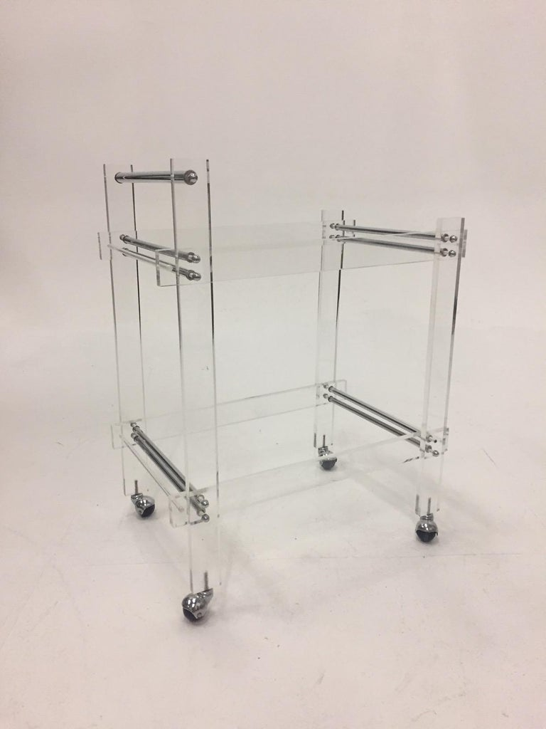 Classic Glam Mid-Century Modern Lucite Bar Cart For Sale 2