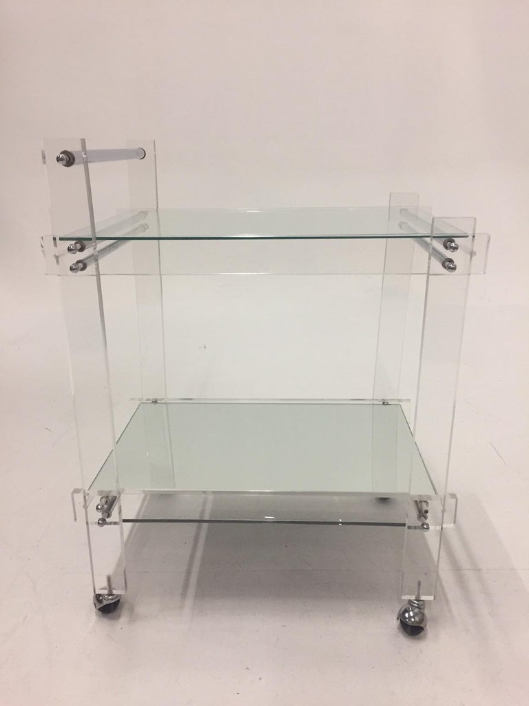 Classic Glam Mid-Century Modern Lucite Bar Cart For Sale 3