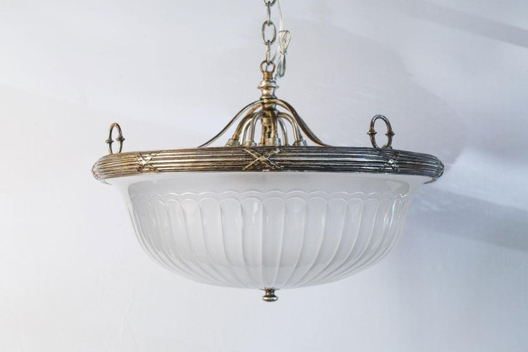 Classic, French Frosted Glass and Silver-Plated Pendant of Grand Size 10