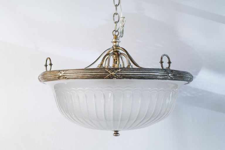 Classic, French Frosted Glass and Silver-Plated Pendant of Grand Size 3
