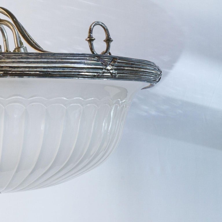 Classic, French Frosted Glass and Silver-Plated Pendant of Grand Size 4