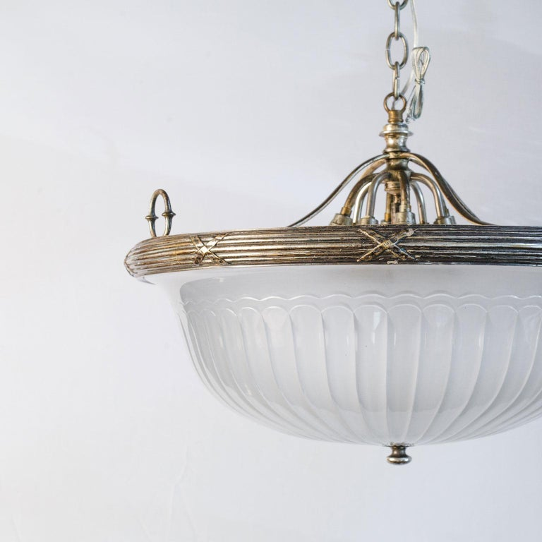 Classic, French Frosted Glass and Silver-Plated Pendant of Grand Size 8