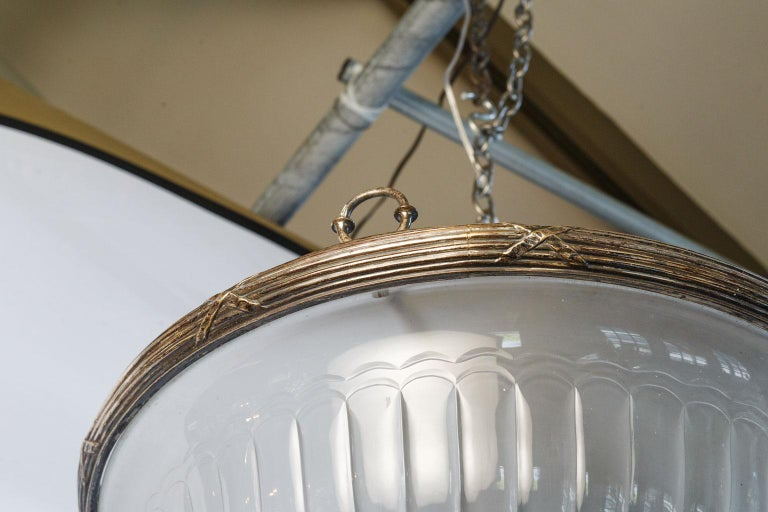 Classic, French Frosted Glass and Silver-Plated Pendant of Grand Size 9