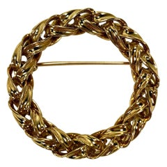 Classic Gold Braided, Wreath Style Circle Brooch