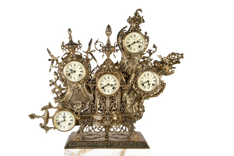 Rococo Classic Grandfather Mantel Clock, Patinated Polished Brass and Calacatta Marble For Sale