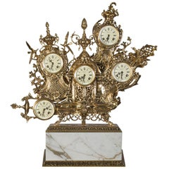 Classic Grandfather Mantel Clock, Patinated Polished Brass and Calacatta Marble