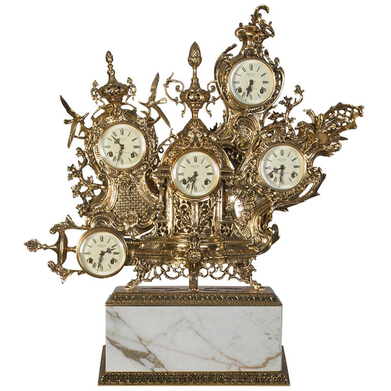Classic Grandfather Mantel Clock, Patinated Polished Brass and Calacatta Marble For Sale