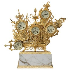 Classic Grandfather Table Clock, Gold Polished Brass and Calacatta Gold Marble