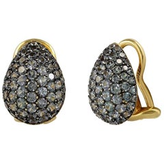 Classic Green Garnet Yellow 18 Karat Gold Earrings