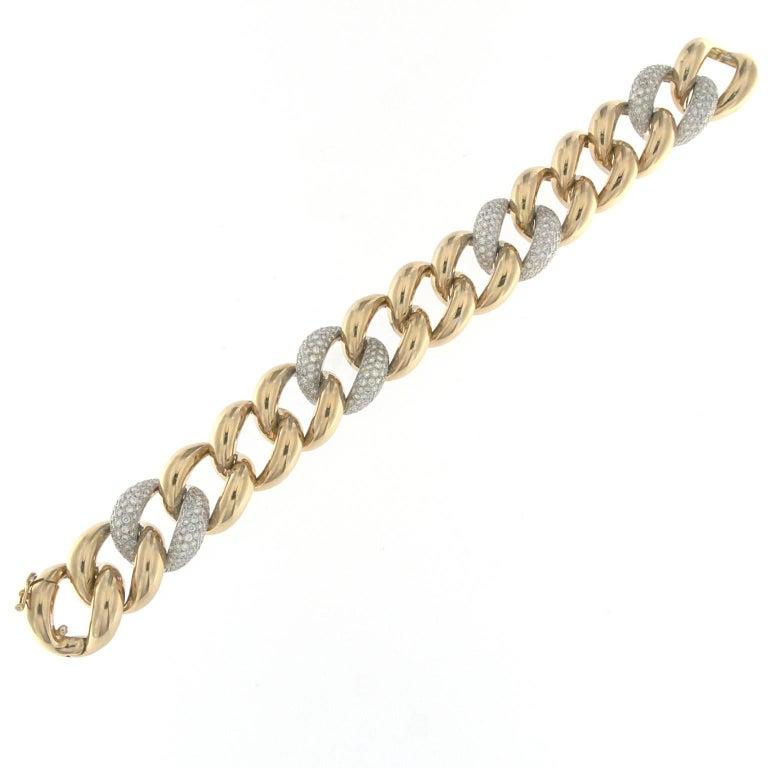 Classic Groumette Bracelet 18 Karat Pink Gold and White Diamond