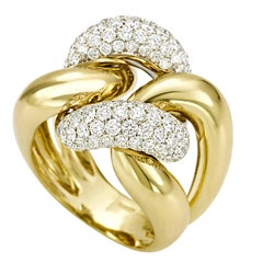 Classic Groumette Ring 18 kt  Yellow Gold and Diamonds