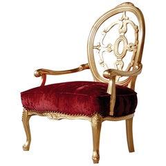 Klassischer Hand geschnitzter Sessel in Blattgold und rotem Samt