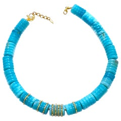 Classic Handmade Aquamarine Beads Coomi 20 Karat Gold Necklace with Gold Beads