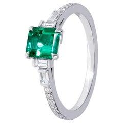 Classic Handmade Emerald Deco Ring in Platinum