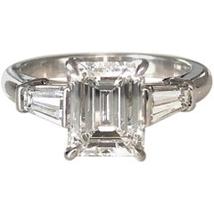 Engagement Ring in Platinum with an Emerald Cut Diamond  1.74 CT, GIA-E Flawless