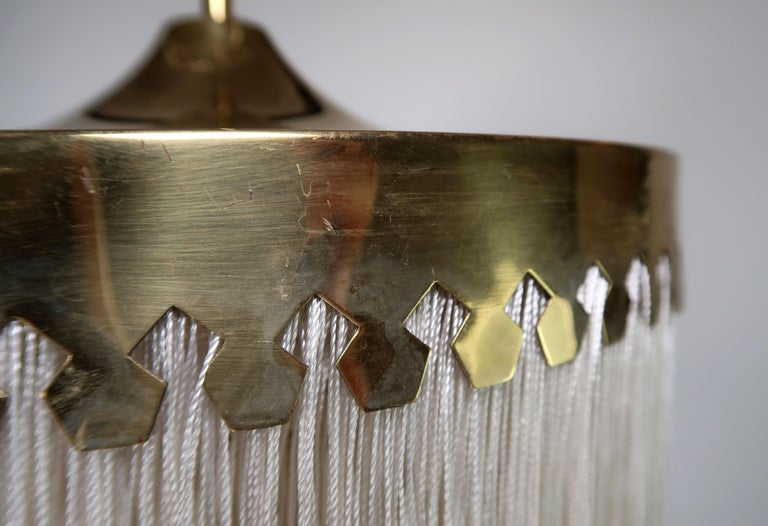 Mid-20th Century Classic Hans-Agne Jakobsson Midcentury Brass and Silk Fringed Pendant, 1960s For Sale