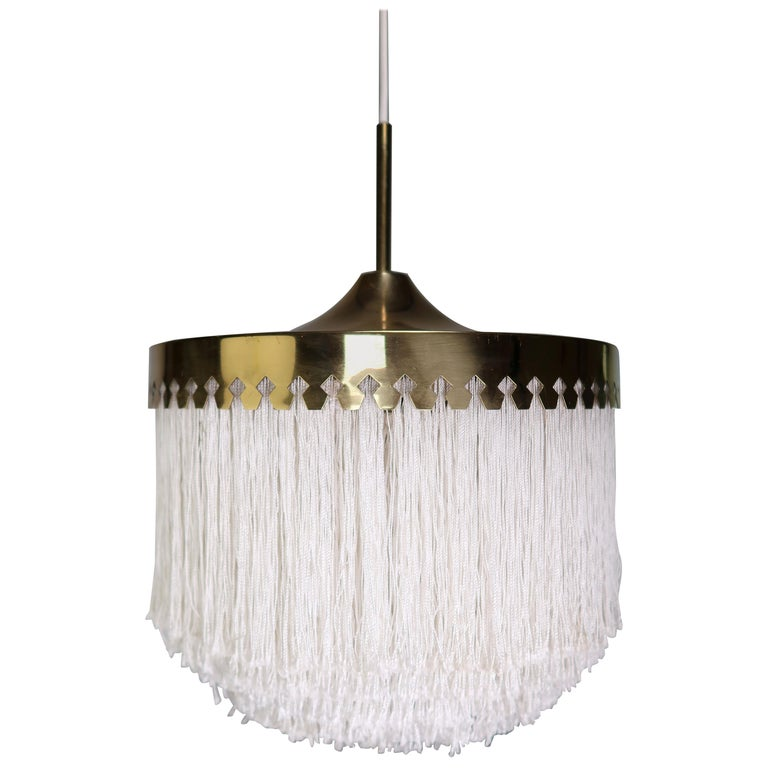 Classic Hans-Agne Jakobsson Midcentury Brass and Silk Fringed Pendant, 1960s For Sale