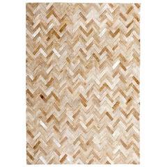 Classic Herringbone Caramel Espina Customizable Large Cowhide Area Floor Rug