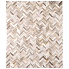 Classic Herringbone Large Gray Customizable Espina Cowhide Area Floor Rug