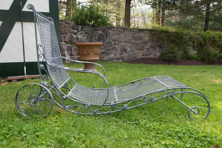 Classic High Quality Wrought Iron Garden Chaise Lounge by Salterini 6